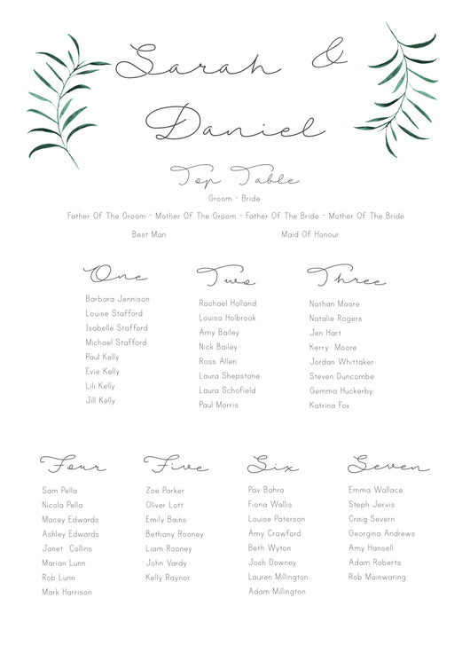 Olive Twigs Seating Plan