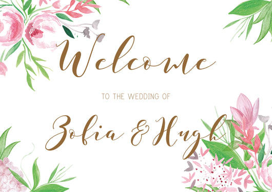 calligraphy floral welcome sign