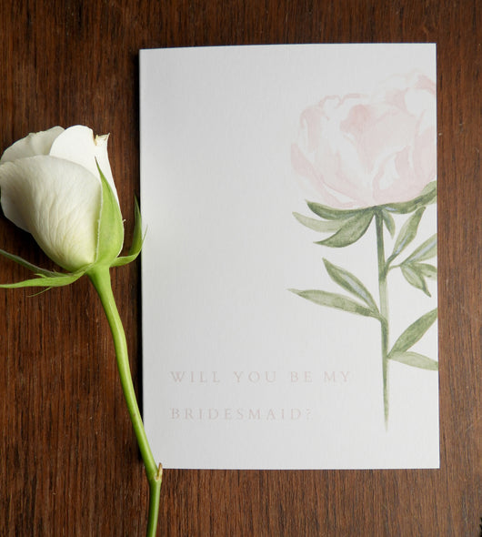 Pink Rose Garden A6 'Will You Be My Bridesmaid?' Card