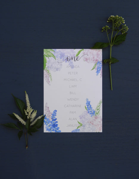 Country Garden A5 Table Plan Cards