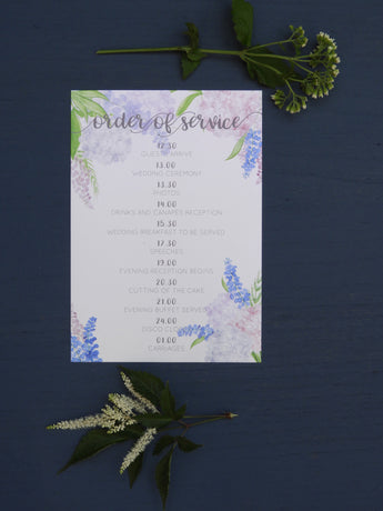 Country Garden A5 Order of Service Cards