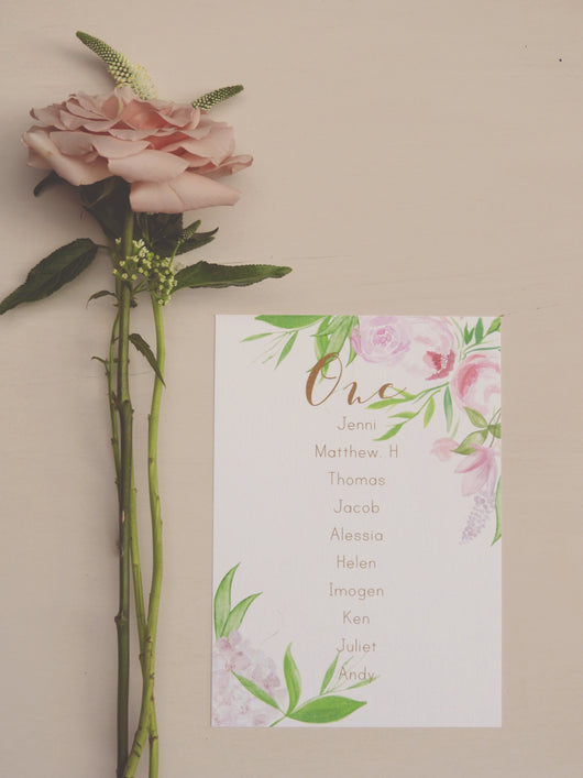 calligraphy pretty floral table plan