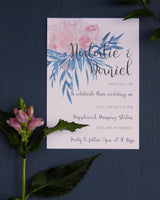 Pink and Turquoise Botanical Invitation