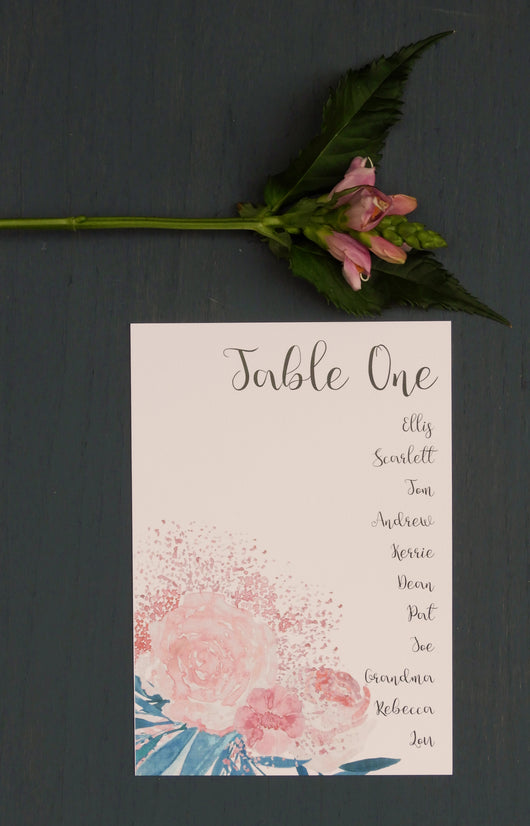 Pink and Turquoise Botanical Table Plan Cards