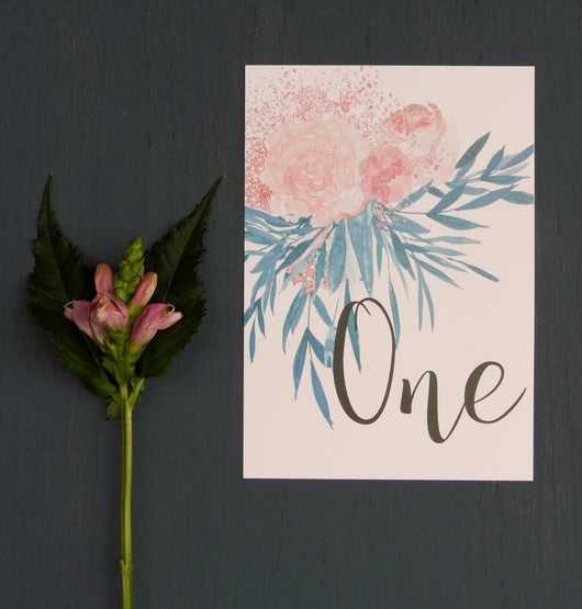 Pink and Turquoise Botanical Table Number / Name
