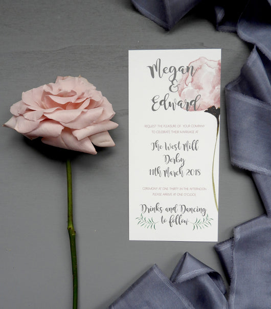 blush rose wedding invites, nottingham Uk