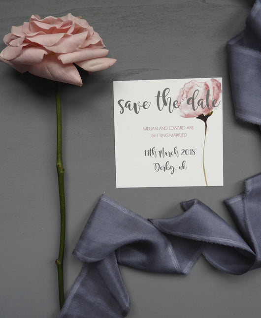 blush rose save the dates