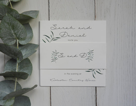Olive Twigs Bundle- Invitation, Information Card, RSVP, Belly Band and Square Envelope