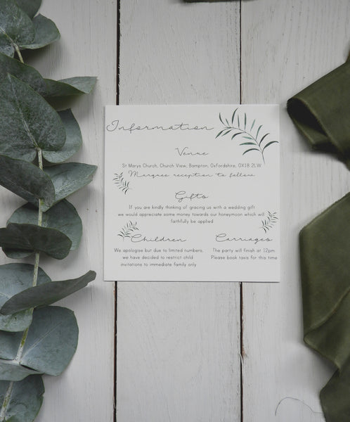 Olive Twigs Information Card