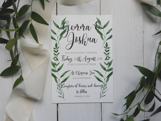 botanical greenery wedding invites