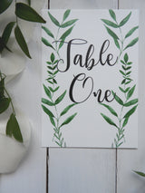 Botanical A5 Table Numbers / Names