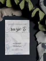 Marble Watercolour Invitation Bundle- Invite, Information Card, RSVP, Belly Band and C5 Envelope