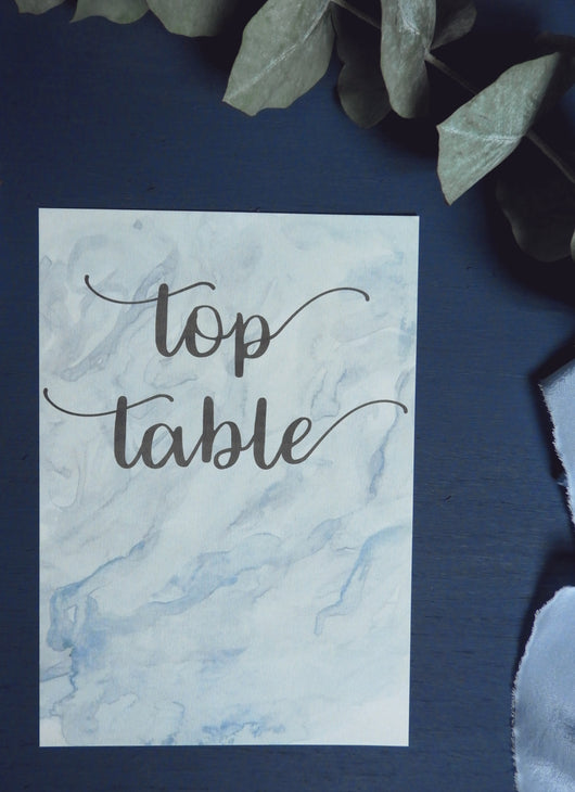 Marble Watercolour A5 Table Numbers / Names