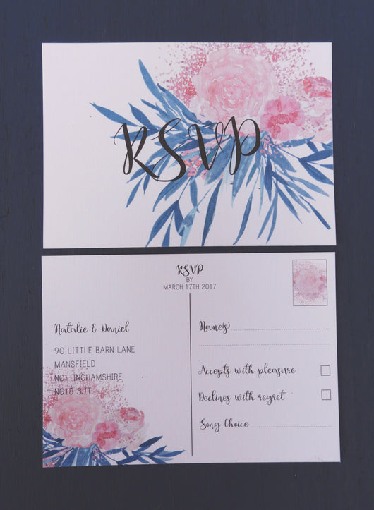 Pink and Turquoise Botanical A6 RSVP