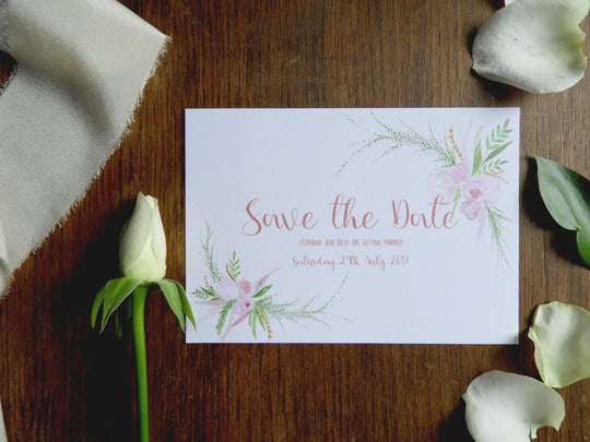 blush floral save the dates - rose gold