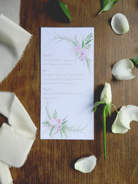 Blush Wedding Day Menu