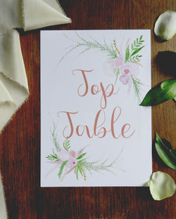 Wedding Table Names & Numbers