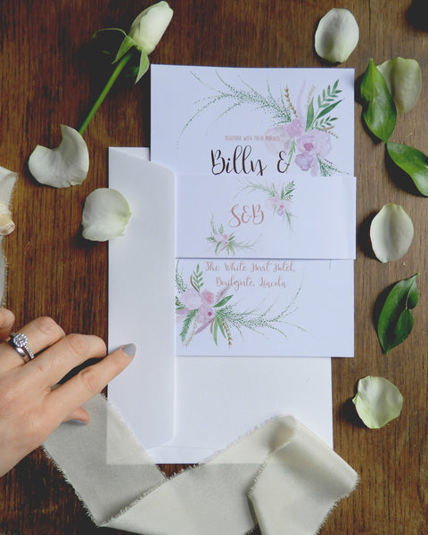 Wedding invitations, belly band - Blush Floral