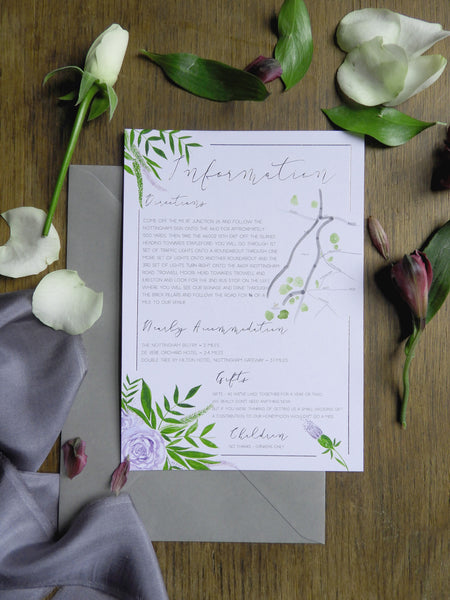 Deep Purple Floral & Foliage A5 Information