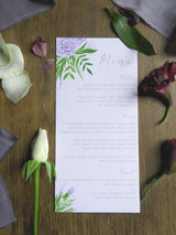 Luxe Deep Purple Floral & Foliage Wedding Menu