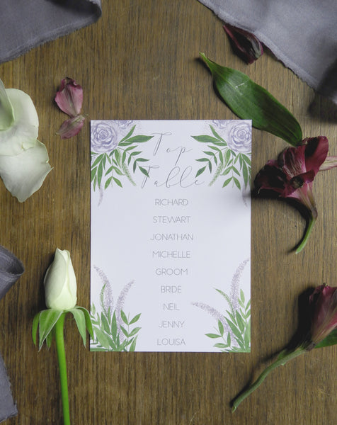 Deep Purple Floral Table Plan Cards