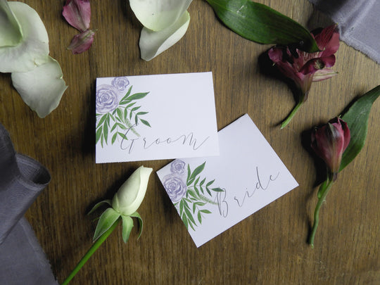 Luxe Deep Purple Floral & Foliage Folded Place Names