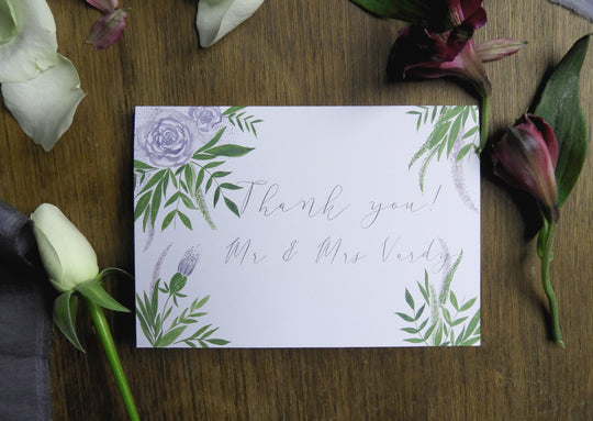 Luxe Deep Purple Floral & Foliage Customisable A6 Thank You Cards