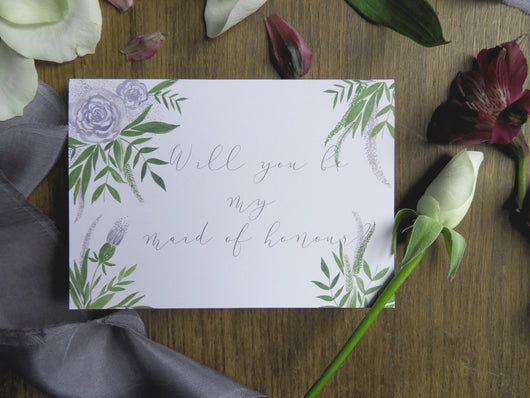 Luxe Deep Purple Floral & Foliage A6 'Will You Be My Maid of Honour?' Card