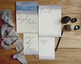 Watercolour Brush Stroke Calligraphy Invitation Bundle- Invite, Information Card, RSVP, Belly Band & Envelope