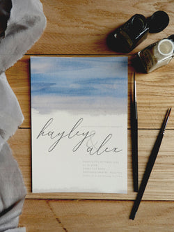 Watercolour Brush Calligraphy A5 Evening Invitation