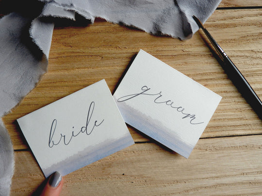 Watercolour Brush Calligraphy Folded Place Name Cards