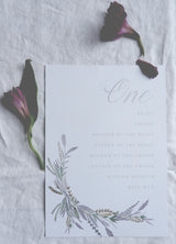 wild lavender table plan cards
