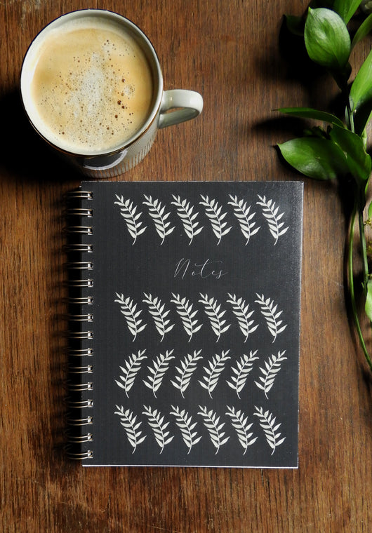 Greenery styling notebook with lined pages and bronze coil - Nottingham stationery shop