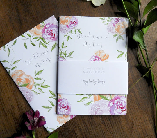 2 Pack of Floral & Foliage Wedding Watercolour Printed Notebooks