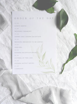 Modern Greenery Order of Service A5 Cards