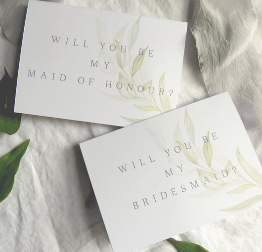 Modern Greenery A6 Will You Be My Bridesmaid Cards