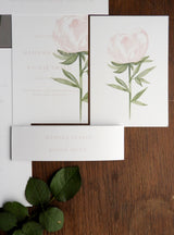 Pink Garden Rose Invitation Bundle - Invitation, Information Card, RSVP, Belly Band and C5 Envelope
