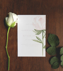 Pink Garden Rose A6 Save the Dates