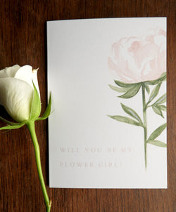 Pink Rose Garden A6 'Will You Be My Flowergirl?' Card