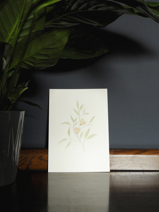 Delicate Greenery & Buds Wall Print
