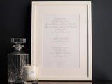 Bespoke First Dance Lyrics & Wedding Reading Print
