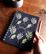 Dark Navy Greenery Geo Watercolour Printed Note Book