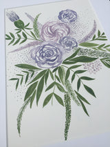 Watercolour Deep Purple and Green Floral Print