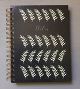 Hardback Grey Leaf Watercolour Printed Note Book