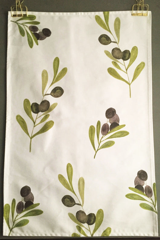 Olive Printed Tea Towel