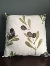 Printed Linen Olive Print Cushion