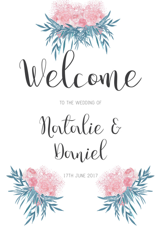 Pink & Turquoise Botanical Flower Welcome Sign
