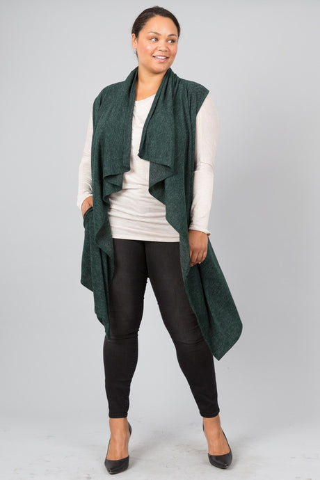 Forest Green Draped Vest (Plus Sizes)