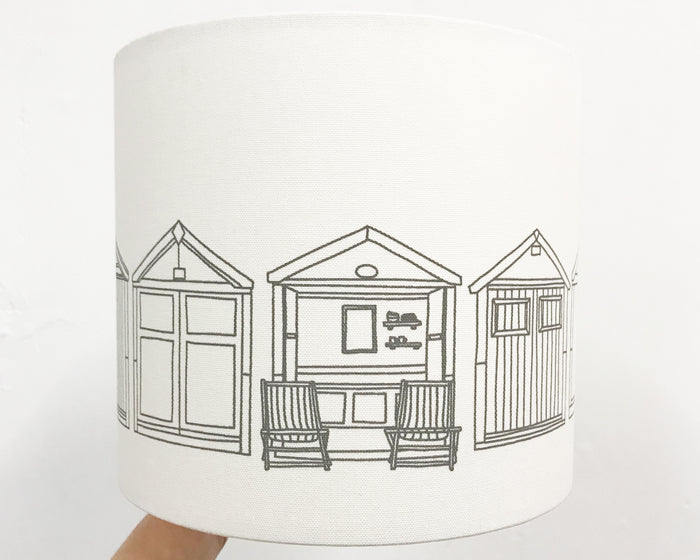 Beach Hut Grey Drum Lampshade - 25cm D x 22cm H
