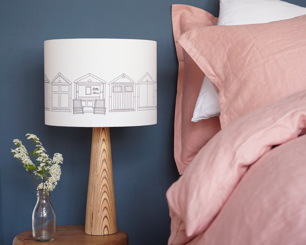 Beach Huts Grey Drum Table Lampshade